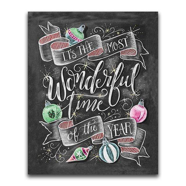 Most Wonderful Time Of The Year Blackboard - Diamond Art Kit
