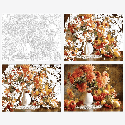 Orange Flowers and Fruit - Paint by Numbers Kit
