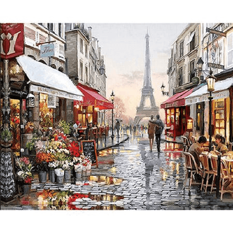 Parisian Street With Cafes Near Eiffel Tower - Paint by Numbers Kit