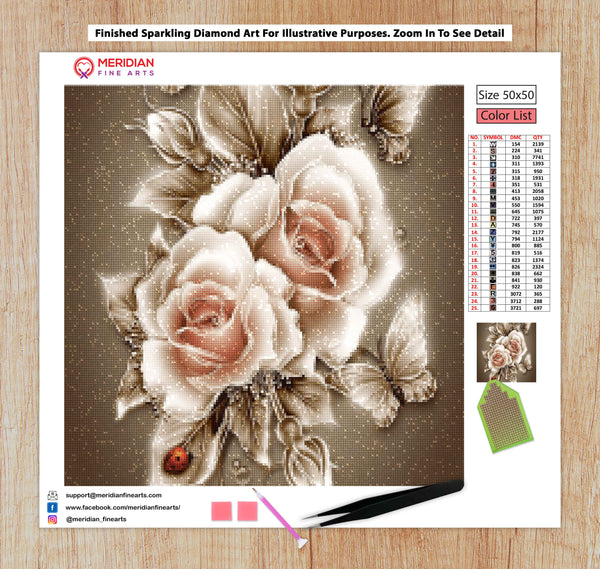 Butterflies With Pink Roses - Diamond Art Kit
