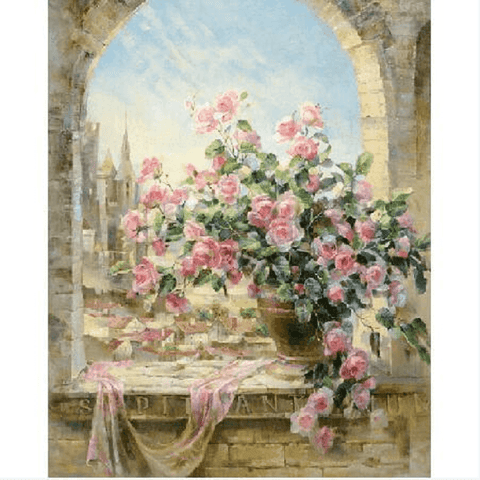Pink Roses on Ledge - Paint by Numbers Kit