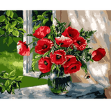 Poppy Flowers by the Window Sill - Paint by Numbers Kit