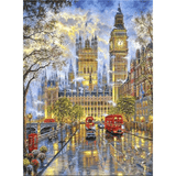 Rainy London Street Near Big Ben - Diamond Art Kit