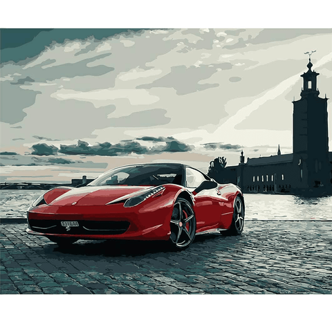 Red Ferrari 458 - Paint by Numbers Kit
