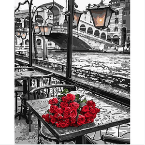 Red Roses by the Canal - Paint by Numbers Kit