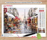 Romantic Stroll Through Parisian Street Near Eiffel Tower - Diamond Art Kit