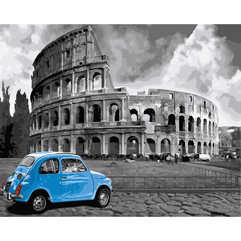 Rome Colosseum With Blue Car