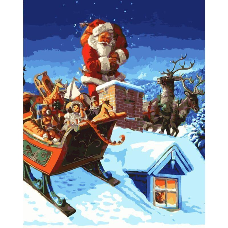 Santa Hurry Down The Chimney - Paint by Numbers Kit