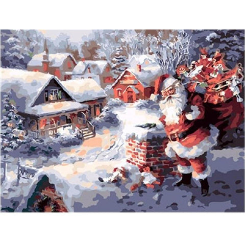 Santa With A Bag Full Of Presents - Paint by Numbers Kit