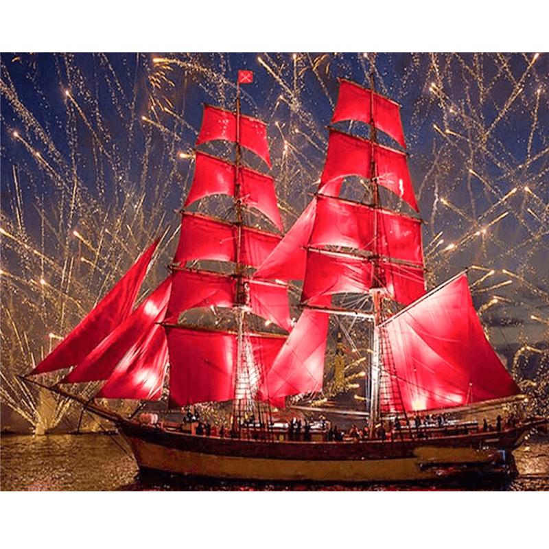 Ship with Red Sails - Diamond Art Kit