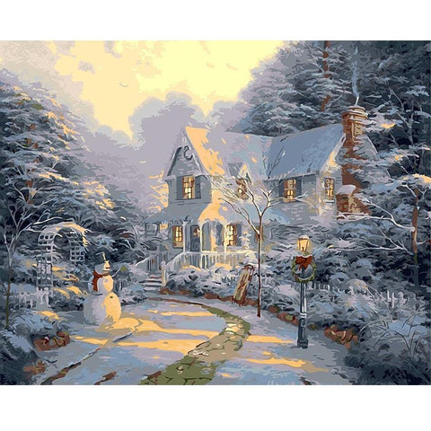 Sun Setting On Christmas Cottage - Paint by Numbers Kit