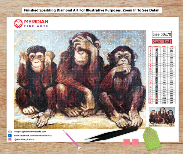 Three Wise Monkeys - Diamond Art Kit
