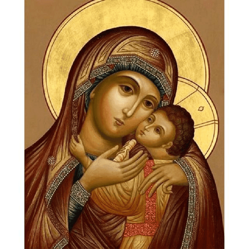 Virgin Mary Embracing Baby Jesus - Paint by Numbers Kit