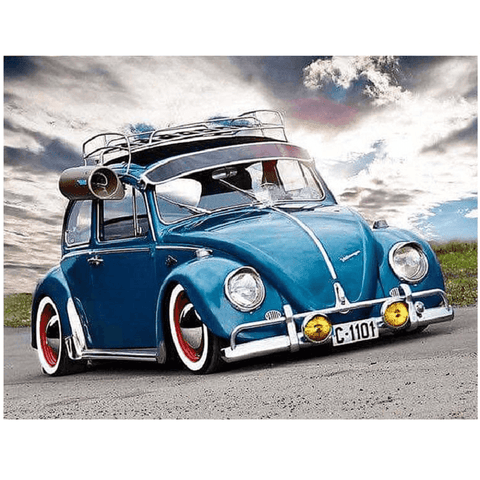 Blue Volkswagen Beetle Car - Diamond Art Kit