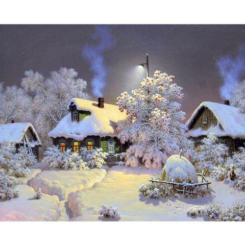 White Christmas Cottages - Paint by Numbers Kit