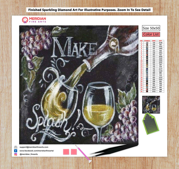 Wine Make Splash Blackboard - Diamond Art Kit