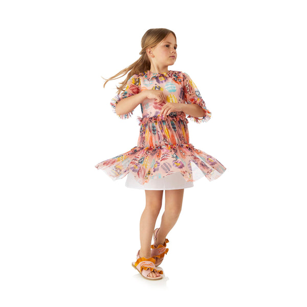 Pom-Pom Organza Fendi dress for girls Spring-Summer 2018