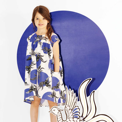 Kenzo Kids Girls Blue and White Phoenix Cotton Dress