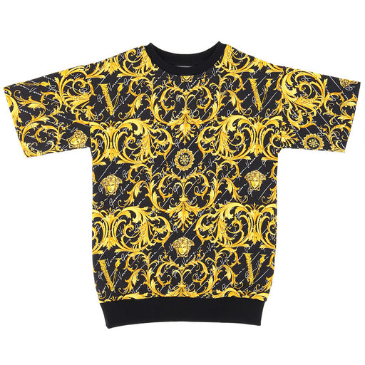 Versace Girls Black and Gold Baroque Dress - Kids clothes online | BOYS & GIRLS ONLINE
