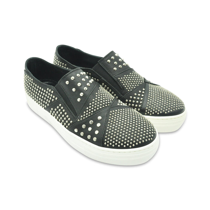 AM66-Leather Sneakers with Studs-boysgirlsonline.com