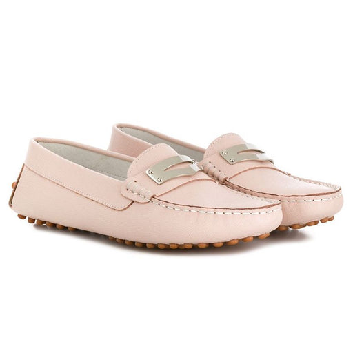 Andrea Montelpare Girls Pink Leather Moccasin Shoes - Kids clothes online | BOYS & GIRLS ONLINE