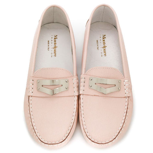 Girls Pink Leather Moccasin Shoes