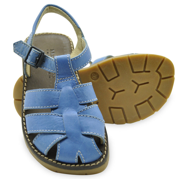 Andrea Montelpare - Boys Blue Leather Sandals - Kids clothing at BOYS & GIRLS ONLINE