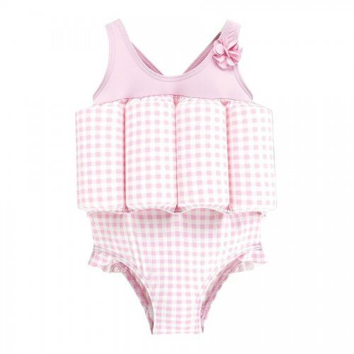 Archimède Girls Pink Checkered Print Buoyancy Swimsuit-BOYS & GIRLS ONLINE