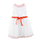 White Dress with Red Belt by Baby A at BOYS & GIRLS ONLINE