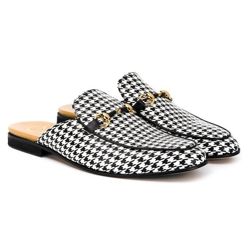 Black & White Checked Houndstooth Slippers