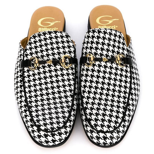 Gallucci - Black & White Checked Houndstooth Slippers - Kids clothing at BOYS & GIRLS ONLINE
