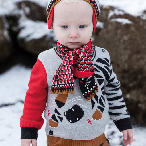 Catimini Baby Boy Graphic Jacquard Knit Scarf - Kids clothes online | BOYS & GIRLS ONLINE