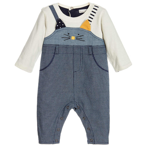 Catimini Blue Cat Face Babygrow at BOYS & GIRLS ONLINE