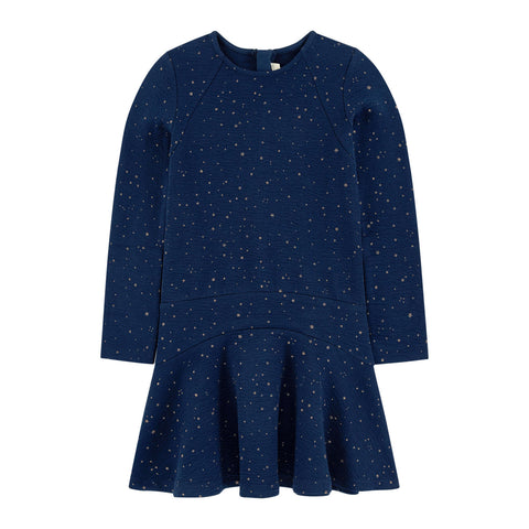 Blue Dress in Embossed Sequinned Tubular Knit