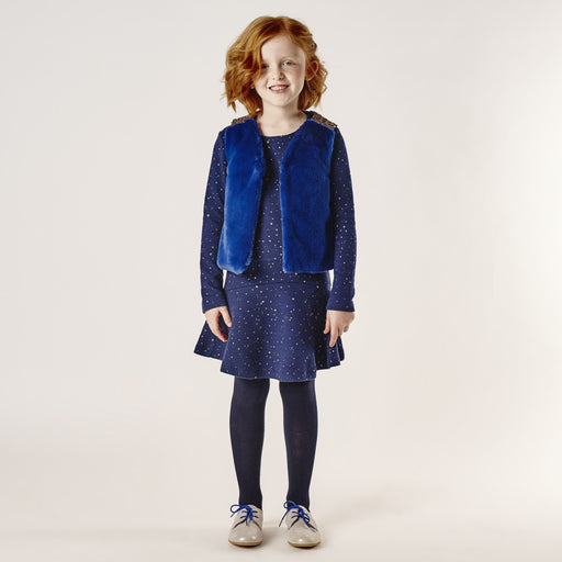 Catimini - Blue Dress in Embossed Sequinned Tubular Knit - Kids clothing at BOYS & GIRLS ONLINE