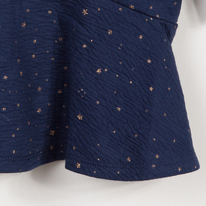 Catimini-Blue Dress in Embossed Sequinned Tubular Knit-boysgirlsonline.com