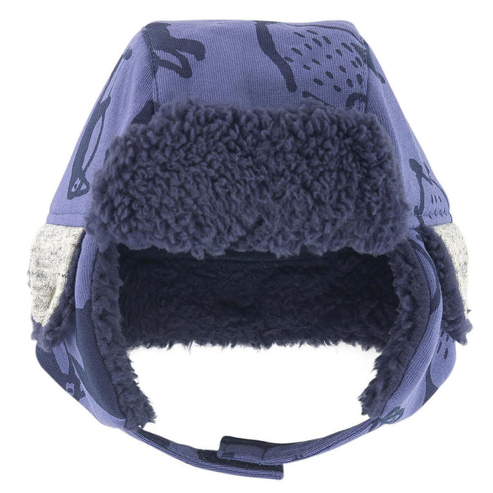 Blue Padded Printed Fleece Chapka