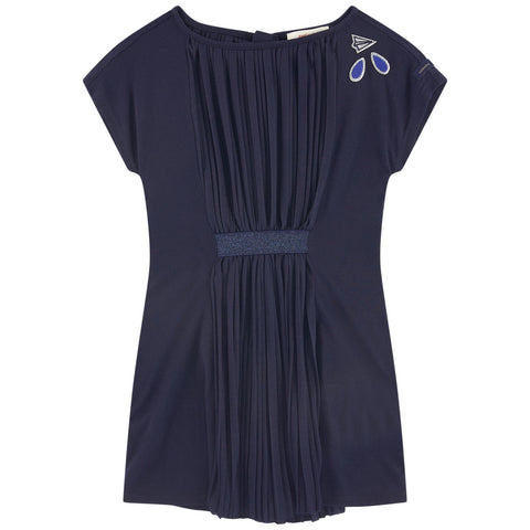 Girls Blue Pleated Jersey Dress