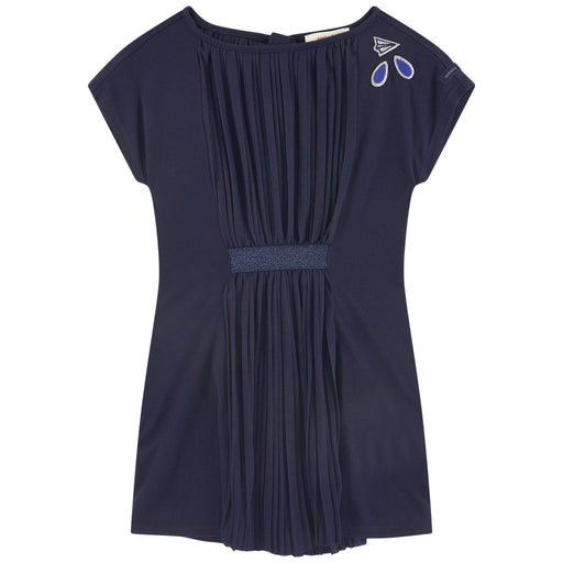 Catimini - Girls Blue Pleated Jersey Dress - Kids clothing at BOYS & GIRLS ONLINE