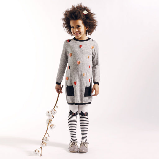 Catimini Girls Heart Knitted Grey Fantai Dress at BOYS & GIRLS ONLINE
