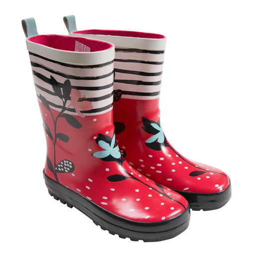 Catimini - Girls Red Floral Rain Boots - Kids clothing at BOYS & GIRLS ONLINE