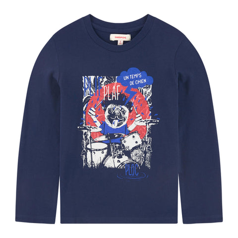 Midnight Blue T-shirt with Playful Animal Pattern