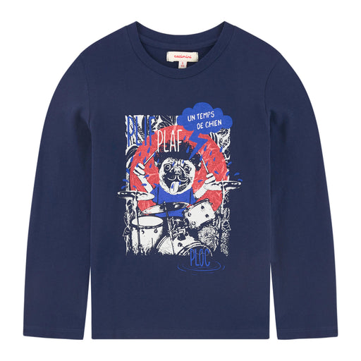 Catimini Midnight Blue T-shirt with Playful Animal Pattern at BOYS & GIRLS ONLINE