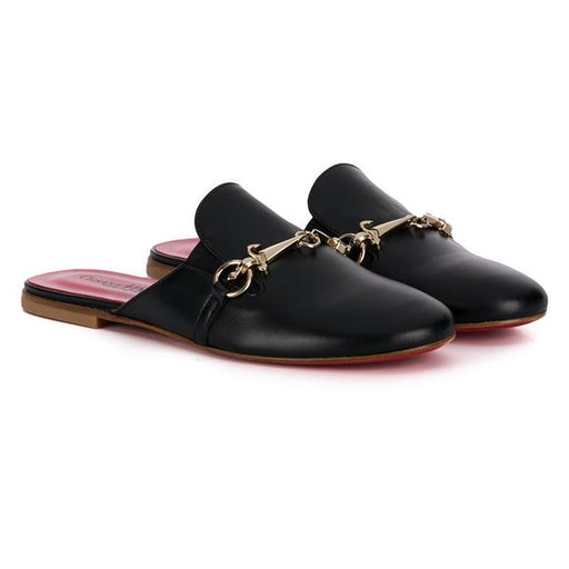 Black Nappa Leather Slipper with Gold Detail
