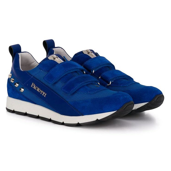 Cesare Paciotti Blue Sneakers with Velcro and Metal Studs - Kids clothes online | BOYS & GIRLS ONLINE