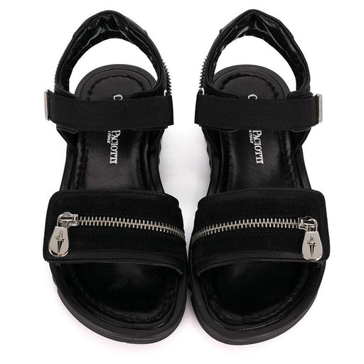 Boys Black Sandals with Zip Details