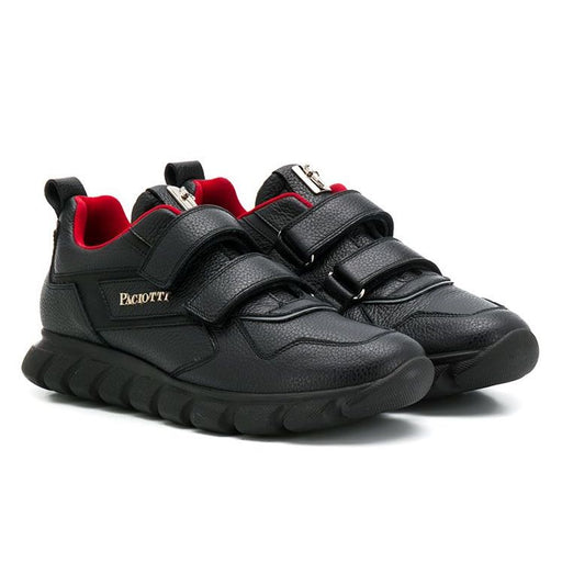 Cesare Paciotti - Double Strap Black Leather Trainers - Kids clothing at BOYS & GIRLS ONLINE