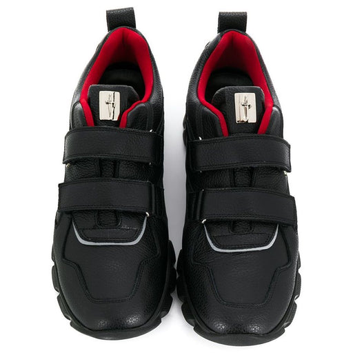 Cesare Paciotti-Double Strap Black Leather Trainers-boysgirlsonline.com