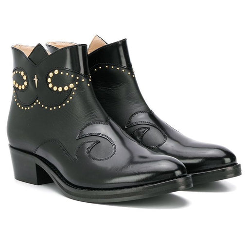 Cesare Paciotti-Girls Black Leather Cossack Ankle Boots-boysgirlsonline.com