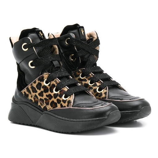 Cesare Paciotti-Girls Black Leather High-Top Leopard Sneakers-boysgirlsonline.com